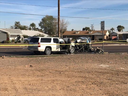 A fatal car crash near 60th Avenue and Thomas Road in Phoenix left one dead and three seriously injured, Jan. 20, 2019.
