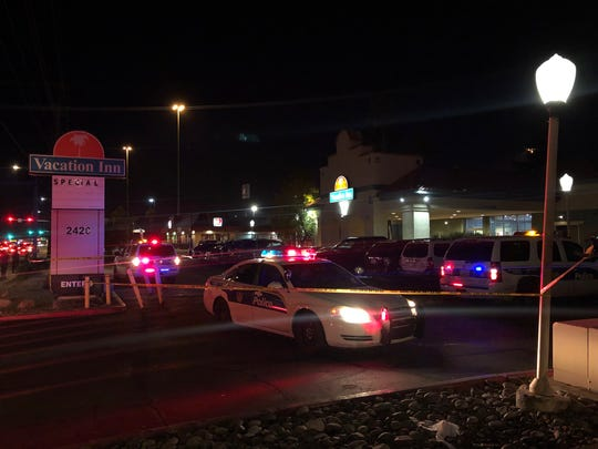 Phoenix police investigated a shooting Saturday night at the Vacation Inn, in the 2400 block of Thomas Road, just east of Interstate 17, Jan. 19, 2019.