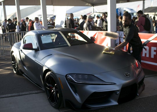A 2020 Toyota Supra - First Production Vin 20201 sits outside the show rooms at Barrett-Jackson collector-car auction at WestWorld on Sat. January 19, 2019 a in Scottsdale, Ariz.