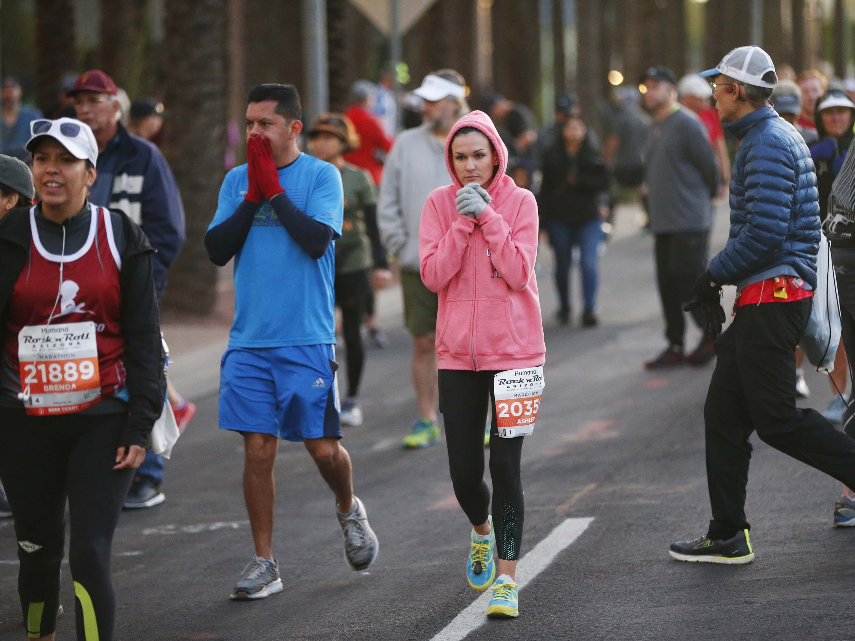 Runners wait for the start of the Rock 'N' Roll Marathon in Phoenix on Jan. 20, 2019.
