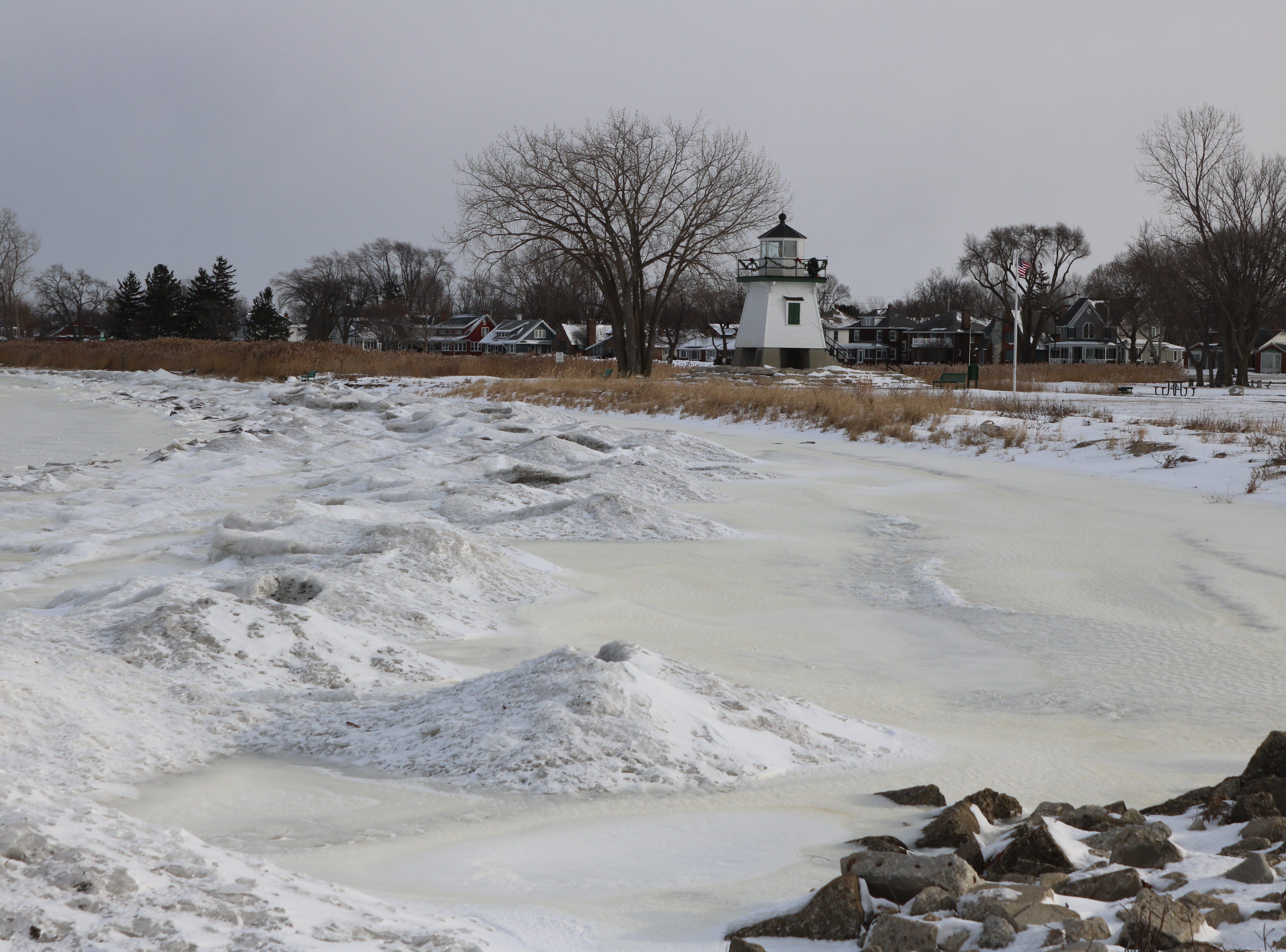 Colder temperatures following Winter Storm Harper had much of Lake Erie's surface frozen on Sunday.