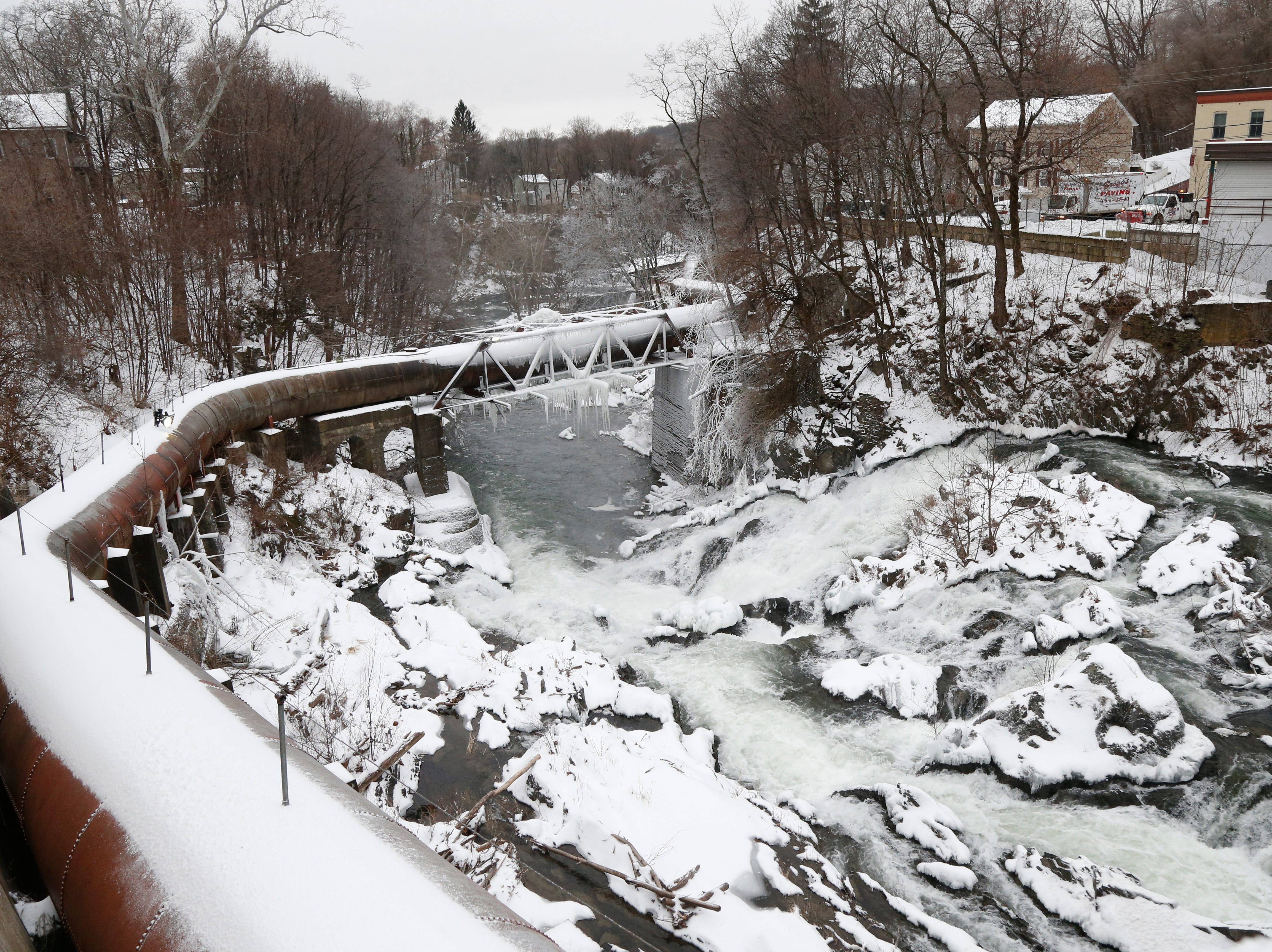 A partially frozen Wappingers Falls on January 20, 2019.