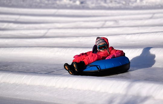 Snow tubing at AvalancheXpress, Sunday, January 20, 2019. 
