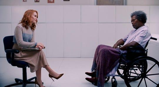 "Sarah Paulson, left, and Samuel L. Jackson star in M. Night Shyamalan's ""Glass."""