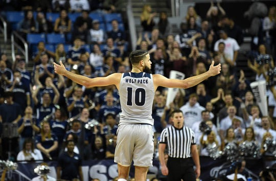 Nevada's Caleb Martin gestures to the Lawlor Events Center crowd during Saturday's win over Air Force.