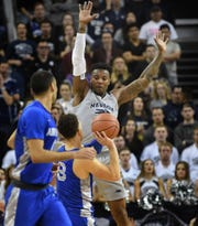 Nevada's Jordan Caroline defends against Air Force's Sis Tomes in the second half of of Saturday's game at Lawlor Events Center on Jan. 19, 2019.