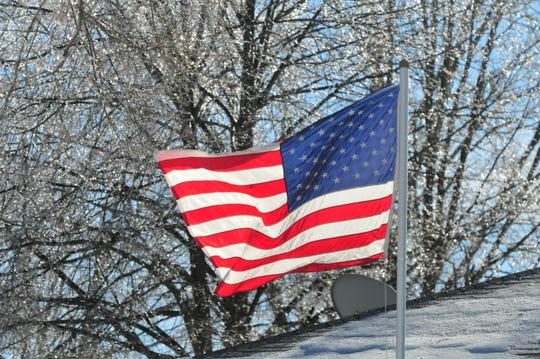 A flag flies in front of trees that sparkle with ice Sunday afternoon.