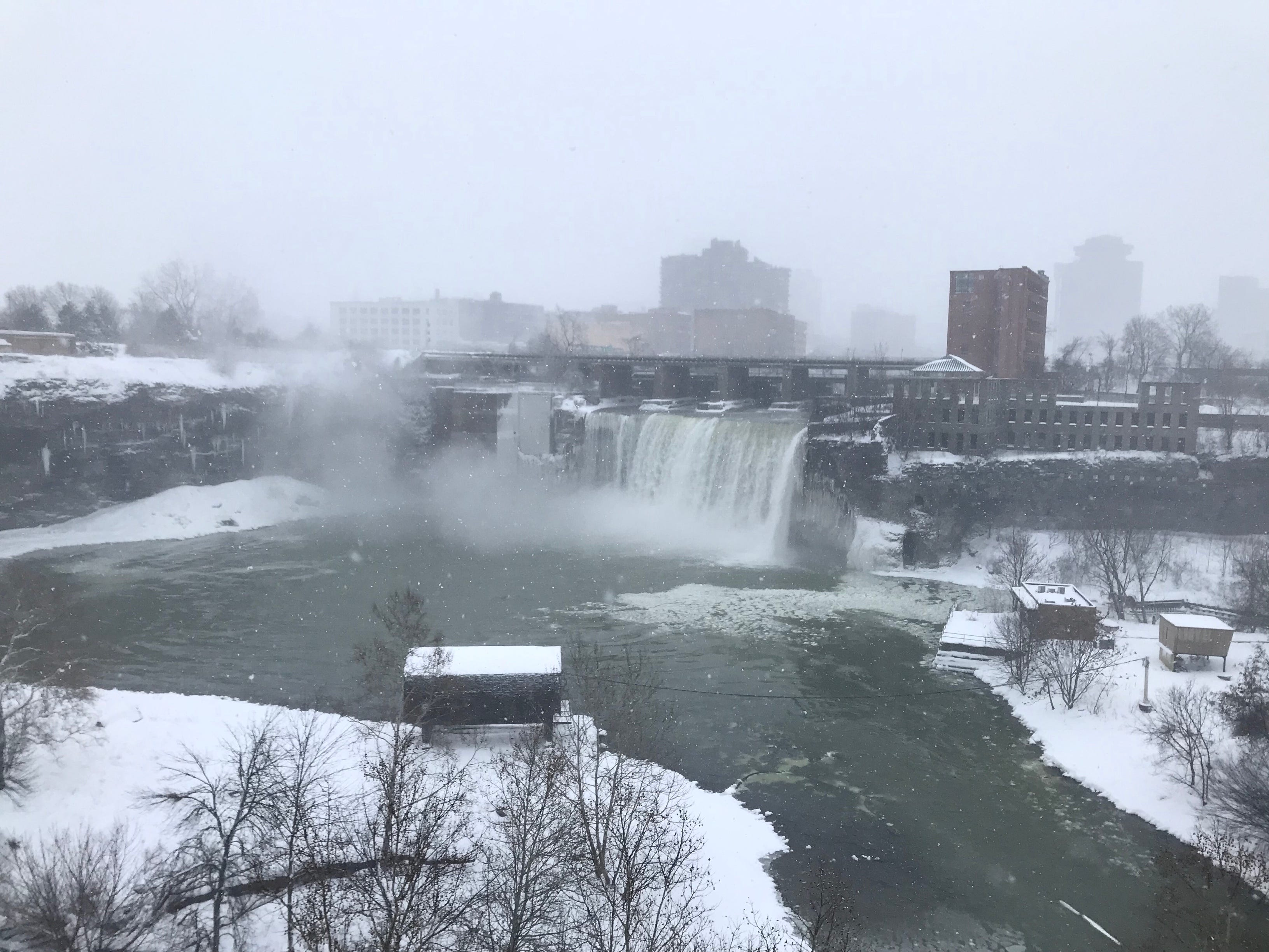 The snow continues to fall in the High Falls area Sunday morning.