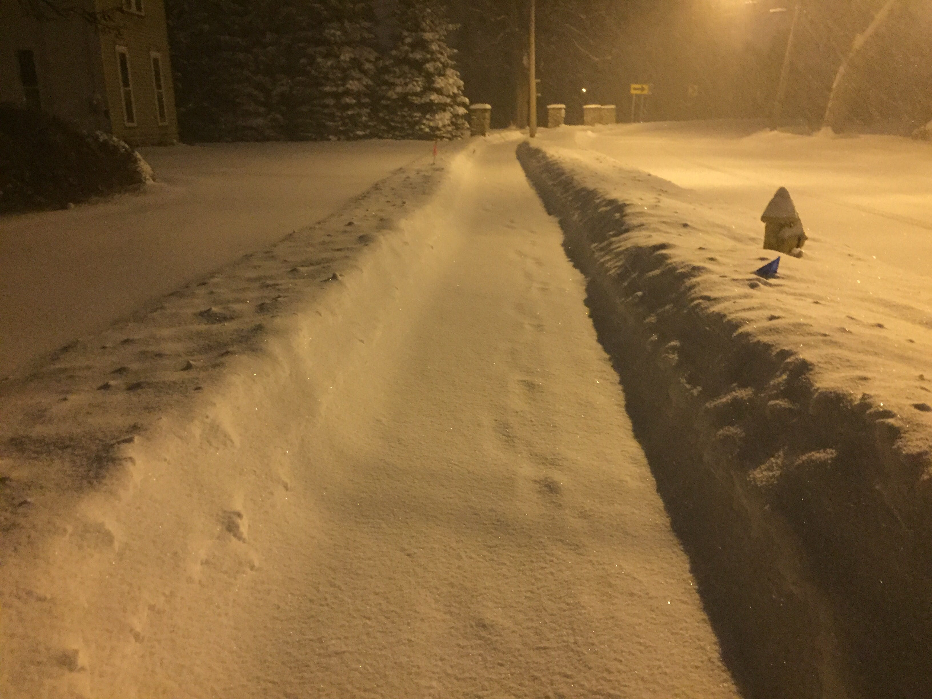 The sidewalks in Honeoye Falls were plowed by 5:30 a.m. Sunday.