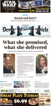 Sunday's Democrat and Chronicle front page.