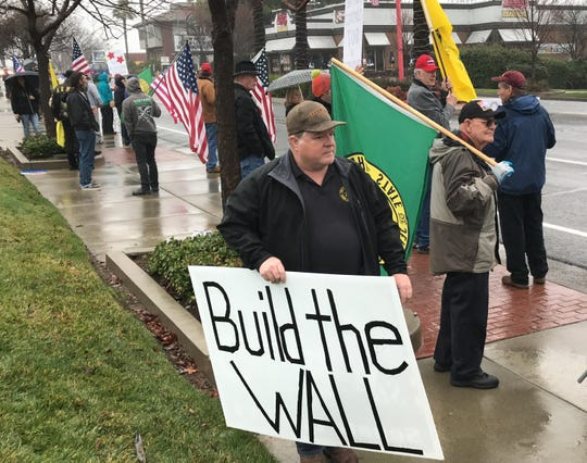A Build That Wall! rally brought demonstrators to Hilltop Drive in Redding, California.