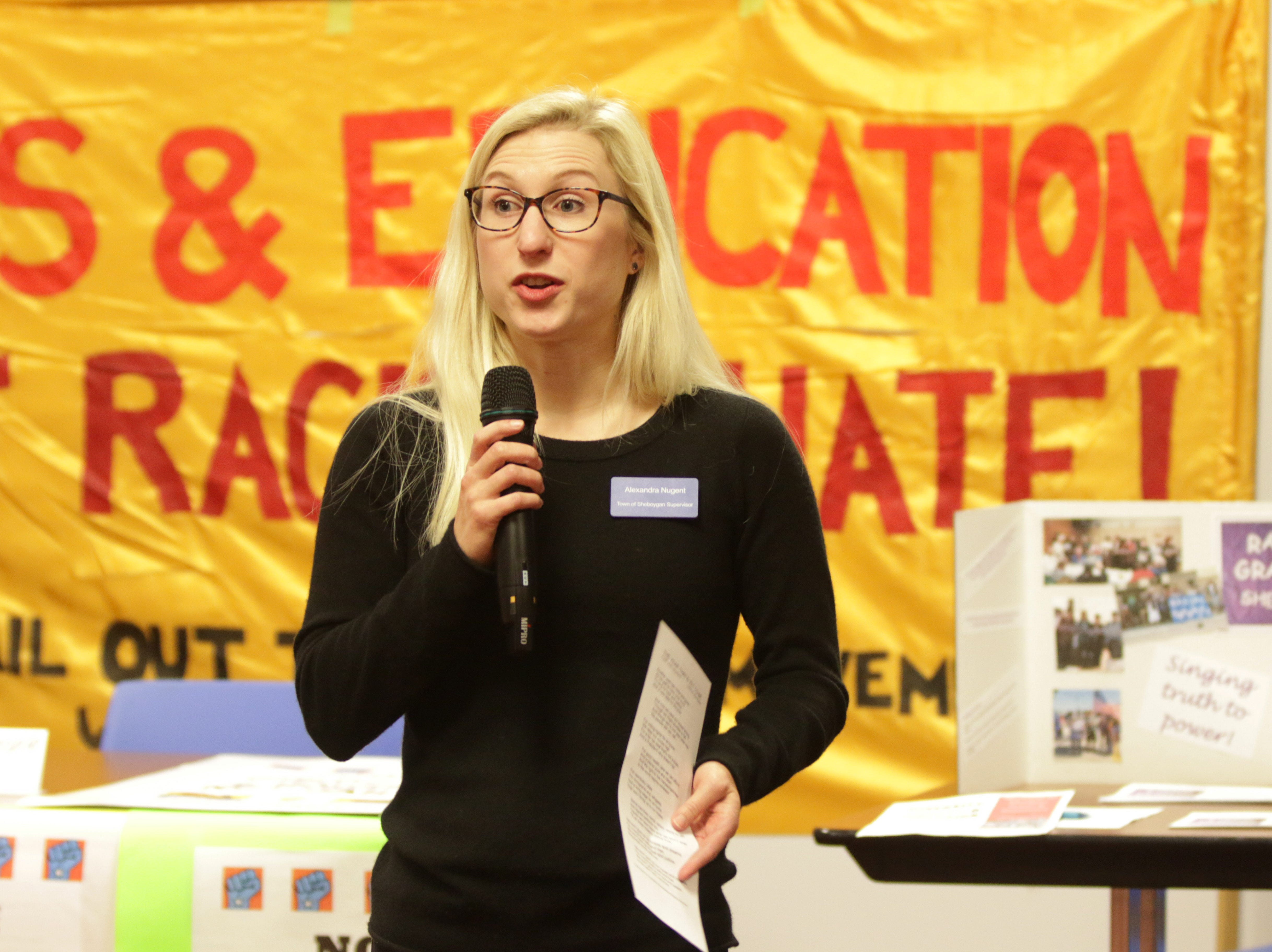 Alexandra Nugent speaks at the Sheboygan  Community event at Mead Public library, Saturday, January 19, 2019, in Sheboygan, Wis. The event focused on human rights, immigration, economic justice and drug abuse issues.