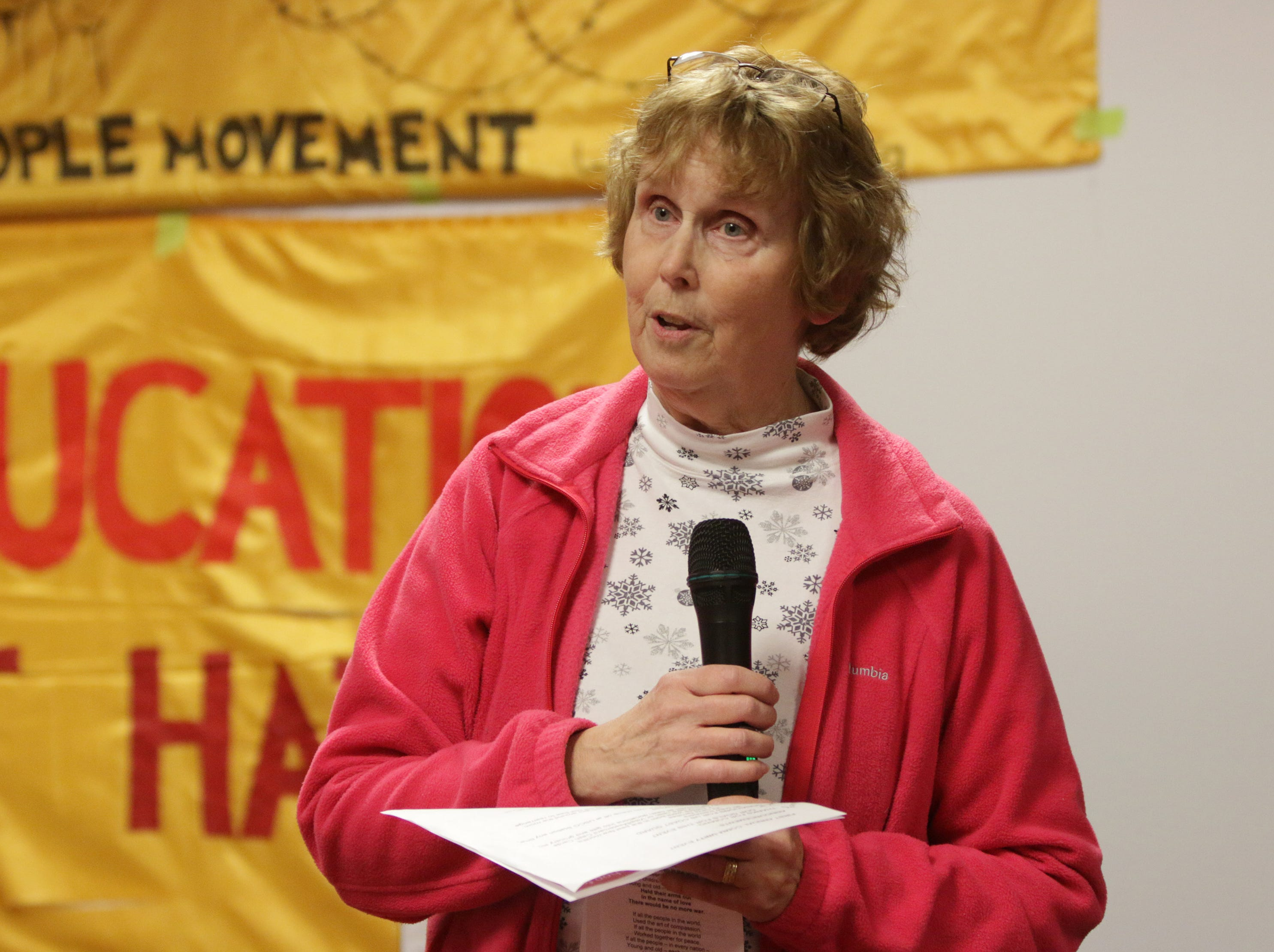 Mary Koczan, organizer of the Sheboygan Community Event speaks, Saturday, January 19, 2019, in Sheboygan, Wis.  The event focused on human rights, immigration, economic justice and drug abuse issues.