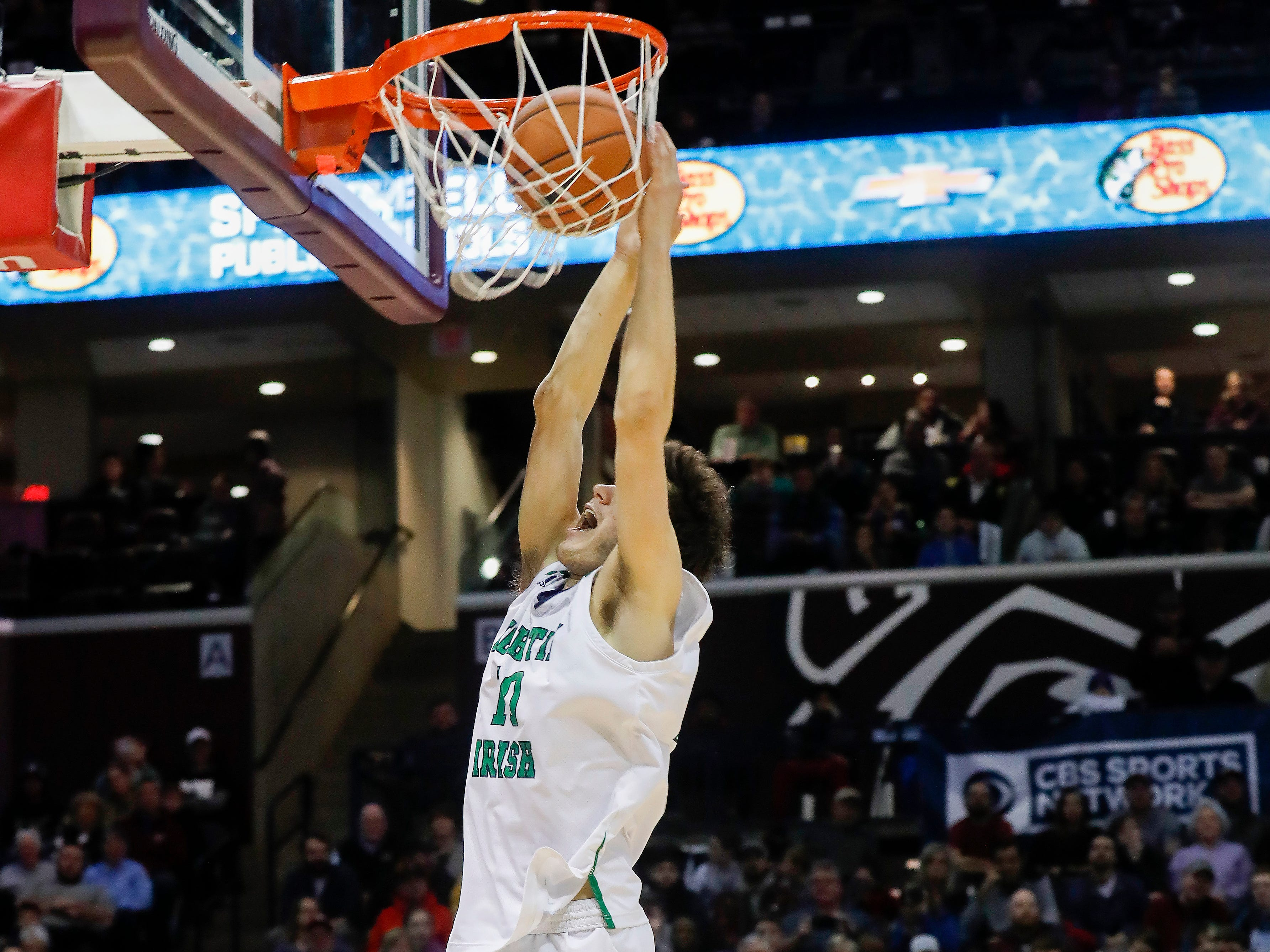 Mike Manzardo, of Springfield Catholic, competes in the slam dunk contest at the Bass Pro Shops Tournament of Champions at JQH Arena on Saturday, Jan. 19, 2019.