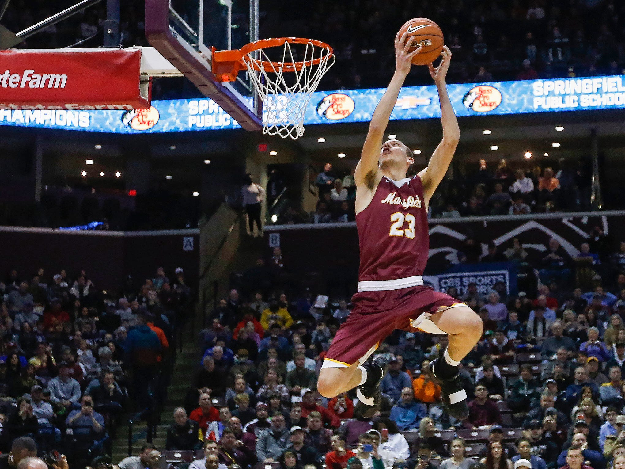 Dylan Caruso, of Mansfield, competes in the slam dunk contest at the Bass Pro Shops Tournament of Champions at JQH Arena on Saturday, Jan. 19, 2019.