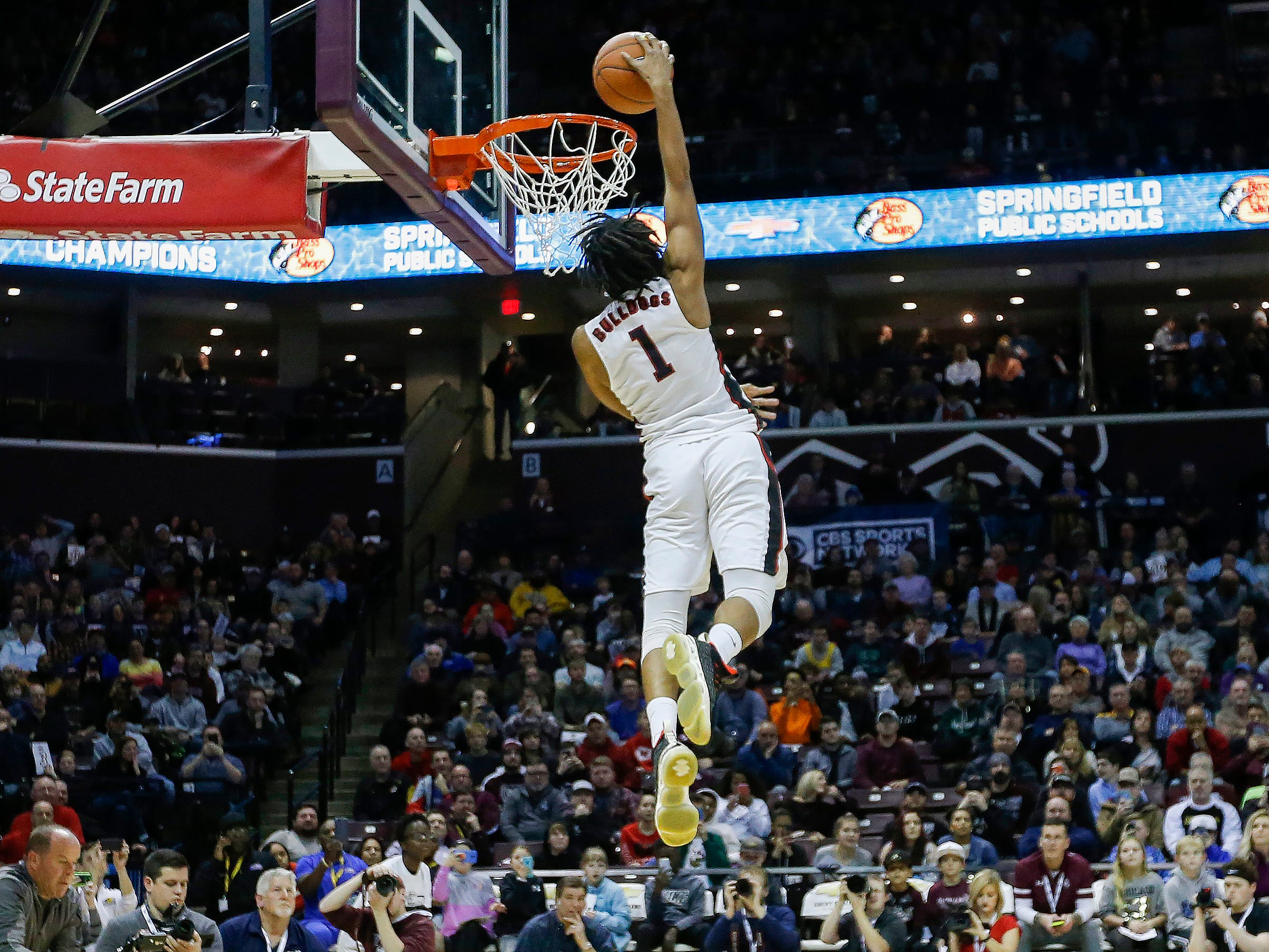 Donte Reese, of Central High School, competes in the slam dunk contest at the Bass Pro Shops Tournament of Champions at JQH Arena on Saturday, Jan. 19, 2019.