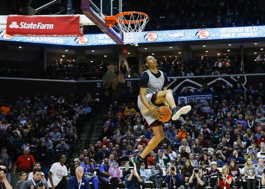Vanderbilt signee Austin Crowley competes in the slam dunk contest at the Bass Pro Shops Tournament of Champions at JQH Arena on Saturday, Jan. 19, 2019.
