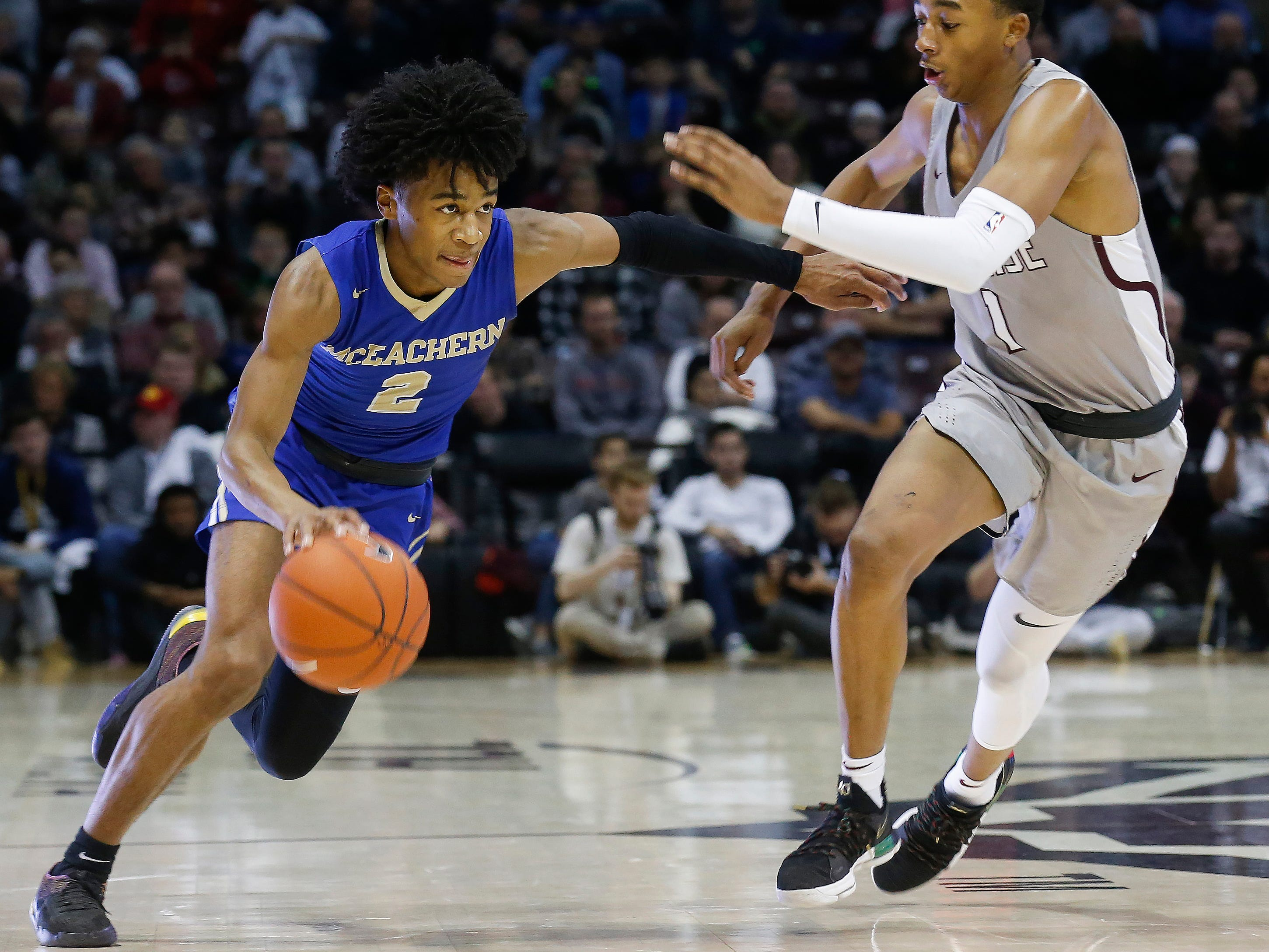 Sharife Cooper, of McEachern, drives to the net during the championship game against Sunrise Christian Academy at the Bass Pro Shops Tournament of Champions at JQH Arena on Saturday, Jan. 19, 2019.