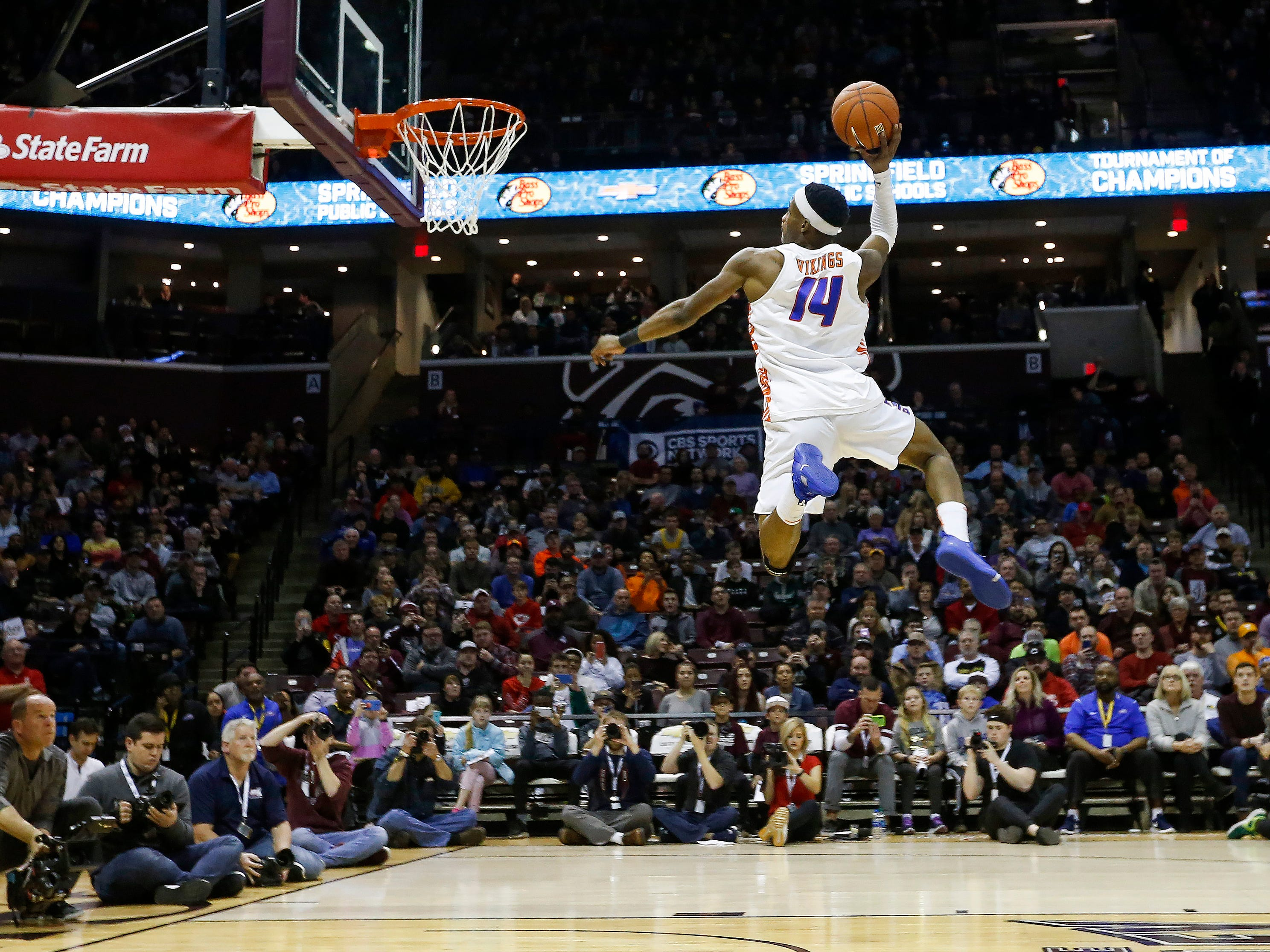 Micah Monroe, of Rainier Beach, competes in the slam dunk contest at the Bass Pro Shops Tournament of Champions at JQH Arena on Saturday, Jan. 19, 2019.