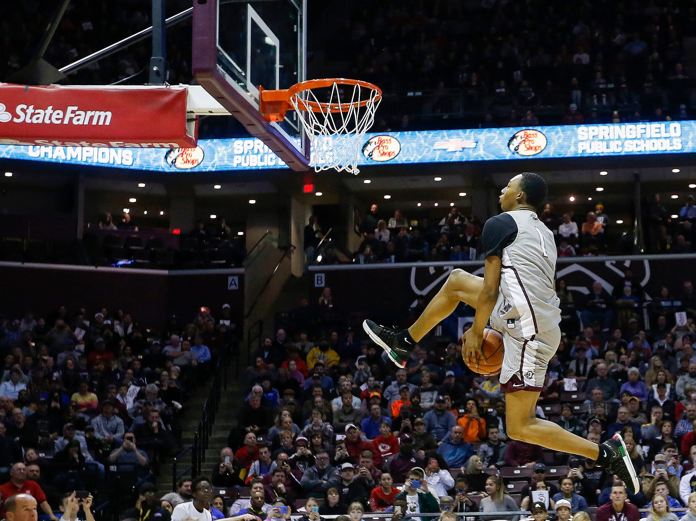 Austin Crowley, of Shadow Mountain, scored a perfect 80 in the preliminary round of the slam dunk contest at the Bass Pro Shops Tournament of Champions at JQH Arena on Saturday, Jan. 19, 2019.