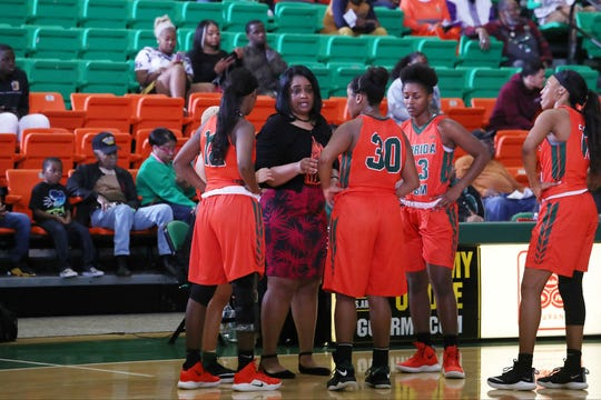 FAMU women's head coach LeDawn Gibson discusses strategy during a timeout. The Rattlers lost 68-36 to Maryland Eastern Shore on Saturday, Jan. 19.