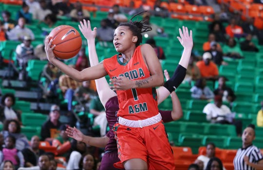FAMU guard Mya Moye goes up and under for a layup versus Maryland Eastern Shore on Saturday, Jan. 19 at the Al Lawson Multipurpose Center.