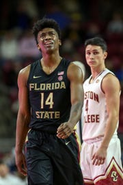 Florida State Seminoles guard Terance Mann (14) reacts during the first half against the Boston College Eagles at Conte Forum.