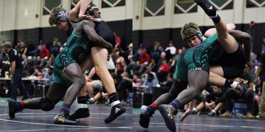 Lincoln wrestler Tony Davis picks up his 160-pound opponent and throws him for a takedown during win Saturday in Lincoln's Trojan Invitational IBT.