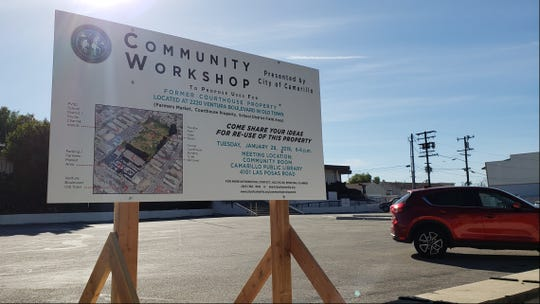 A sign is posted outside the old county courthouse in Camarillo, advertising a community input workshop scheduled for Jan. 29.