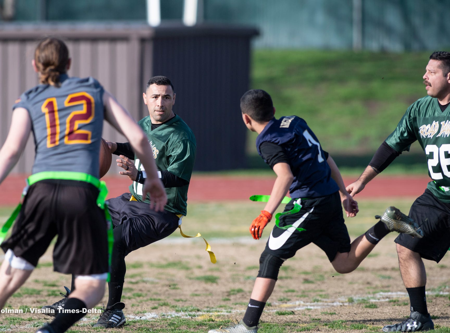 Tulare County Sheriff Department's Road Dawgs took on members of the NFL Past Elite in flag football at Groppetti Automotive Community Stadium on Saturday, January 19, 2019. The benefit game kicks off the Sheriff's new NFL Flag Football League, free for children in grades K through 8, in the unincorporated areas of Tulare County.