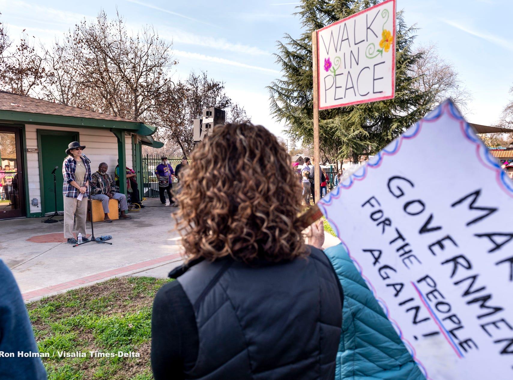 Keren Friedman, left, speaks during the Women's March in Visalia on Saturday, January 19, 2019.