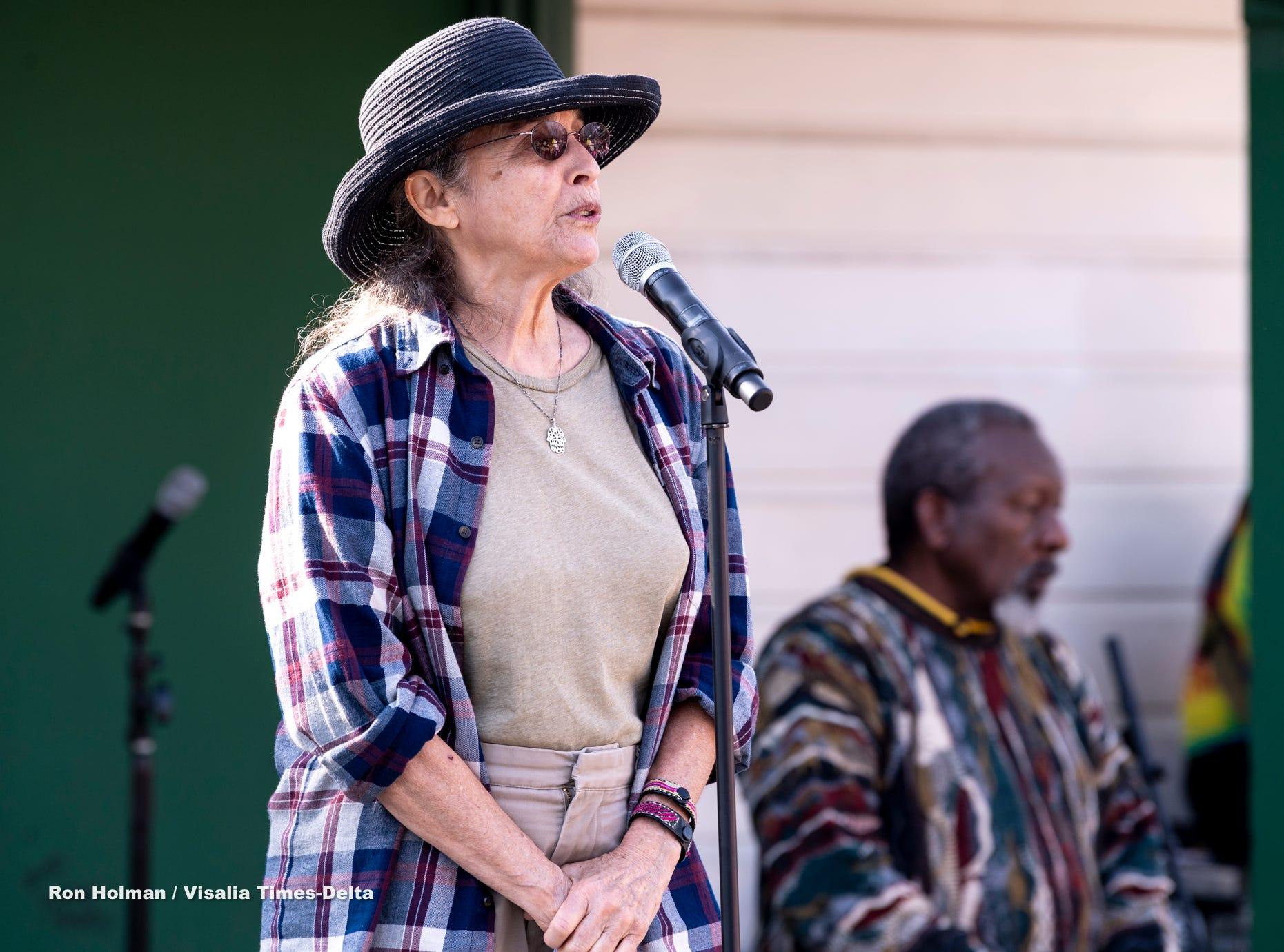 Keren Friedman speaks during the Women's March in Visalia on Saturday, January 19, 2019.