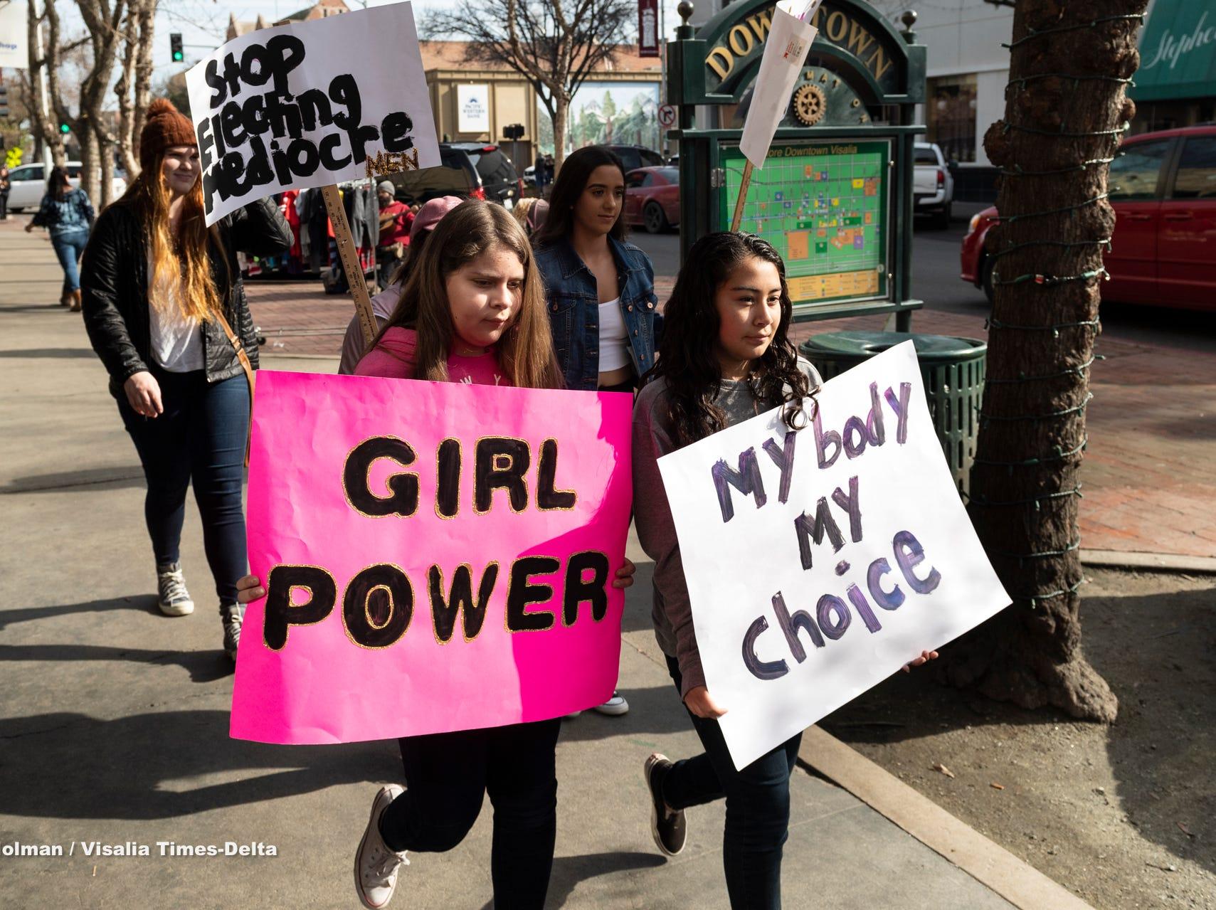 Women's March in Visalia on Saturday, January 19, 2019.