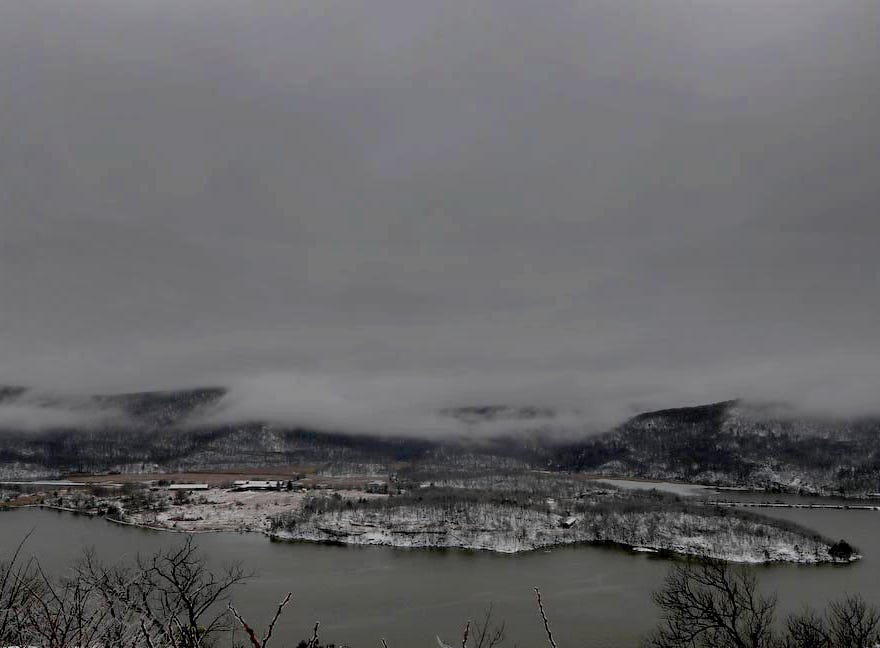 Clouds hung low over the Hudson River in the Town of Cortlandt during the morning hours Jan. 20, 2019. Snow gave way to rain overnight. Temperatures are expected to drop throughout the day, leaving icy conditions throughout the region.