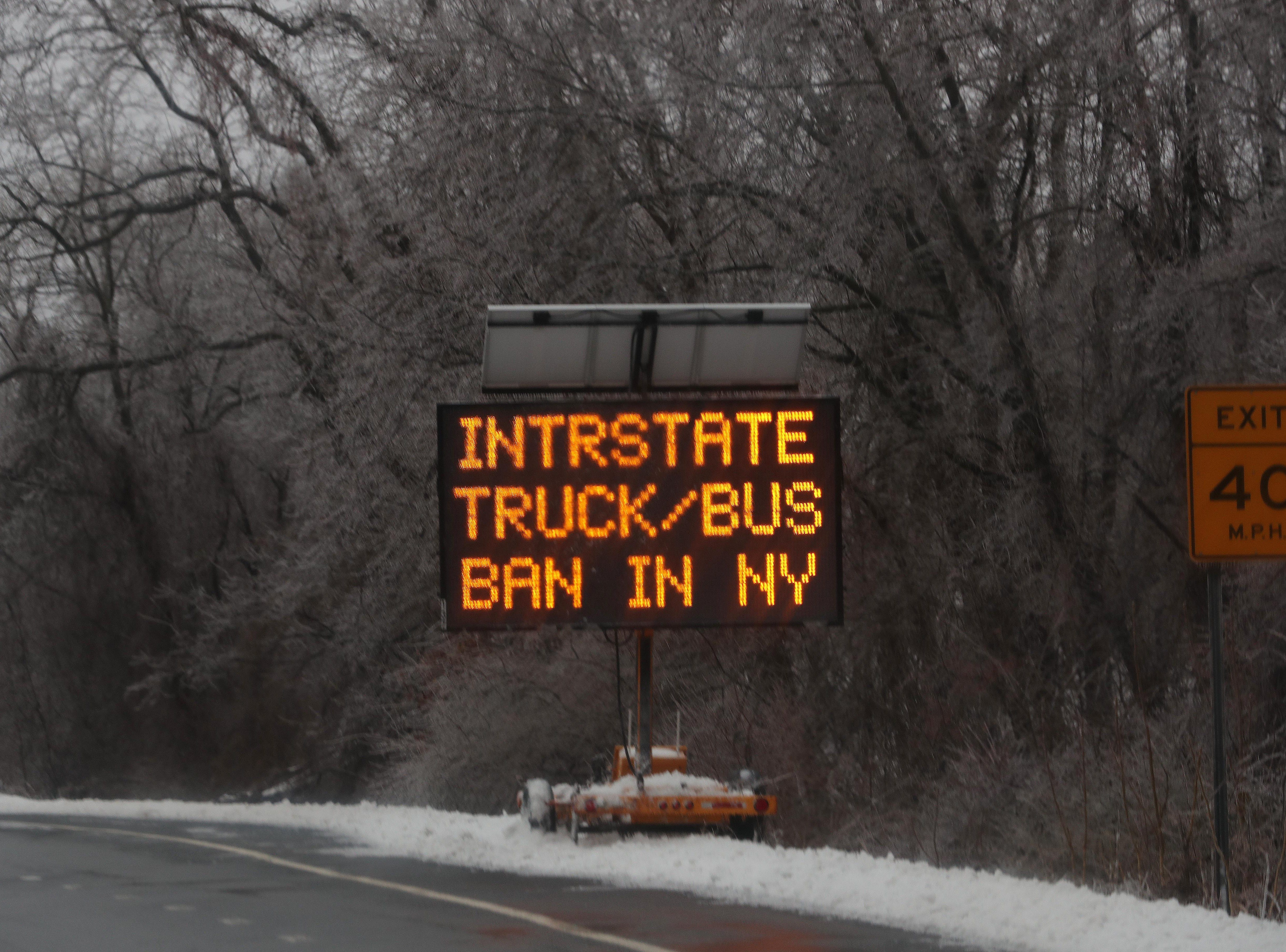 A sign at the entrance to I-684 in Southeast warning trucks and buses of the ban on interstate highways in New York Jan. 20, 2019.