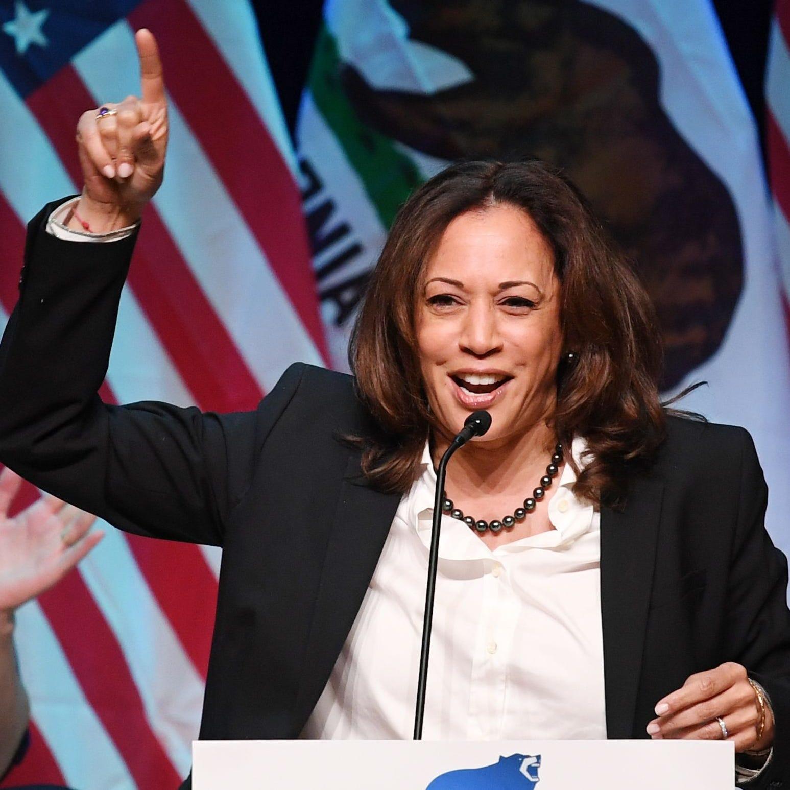 Sen. Kamala Harris, D-Calif., speaks at a rally for California gubernatorial candidate Gavin Newsom before the mid-term elections in Santa Clarita, California, on Nov. 3, 2018.