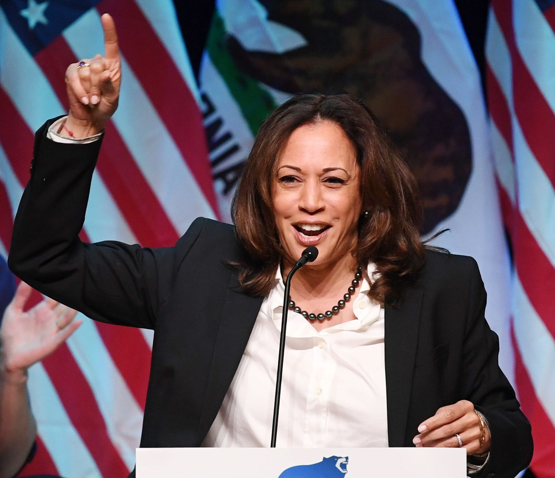 Sen. Kamala Harris, D-Calif., speaks at a rally for California gubernatorial candidate Gavin Newsom before the mid-term elections in Santa Clarita, California, on Nov. 3, 2018.