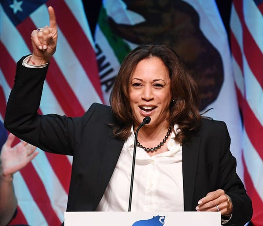Sen. Kamala Harris, D-Calif., speaks at a rally for California gubernatorial candidate Gavin Newsom before the midterm elections in Santa Clarita, Calif., on Nov. 3, 2018.