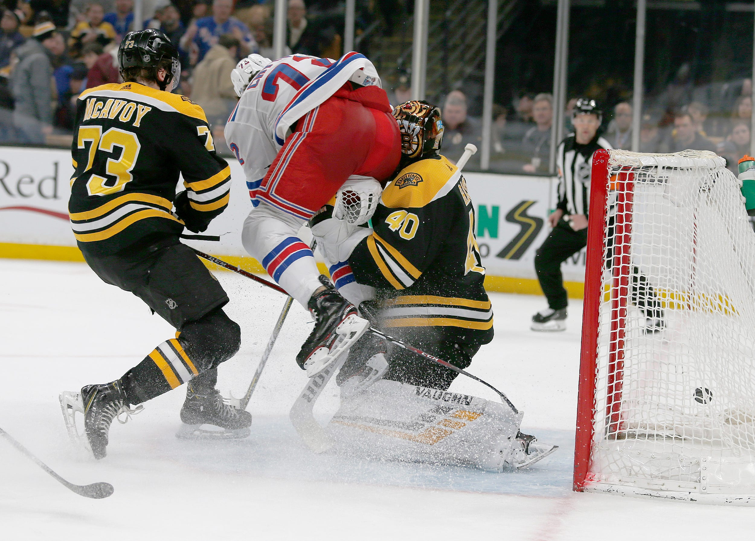 Bruins goalie Tuukka Rask suffers concussion in nasty collision with Rangers' Filip Chytil