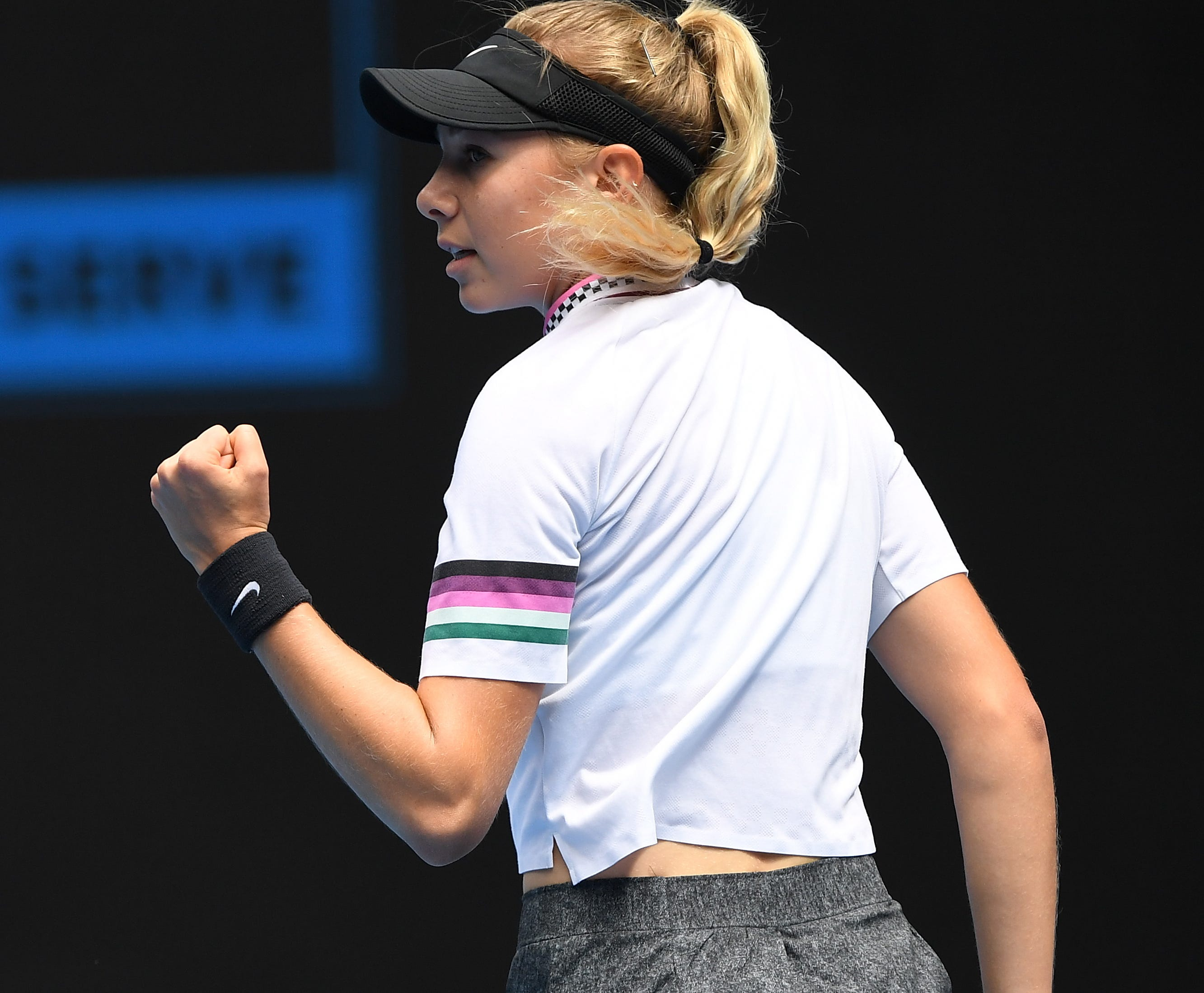 Amanda Anisimova notched the first three Grand Slam wins of her career to reach the fourth round at the Australian Open.