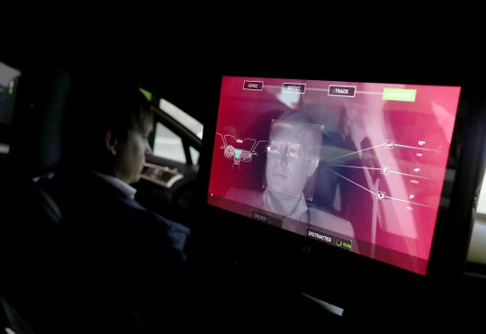 A camera monitors the driver of an Nvidia self-driving car inside the Nvidia booth during CES 2019 at the Las Vegas Convention Center on January 8, 2019 in Las Vegas, Nevada.