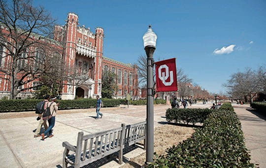 This file photo from 2015 shows the  University of Oklahoma campus.