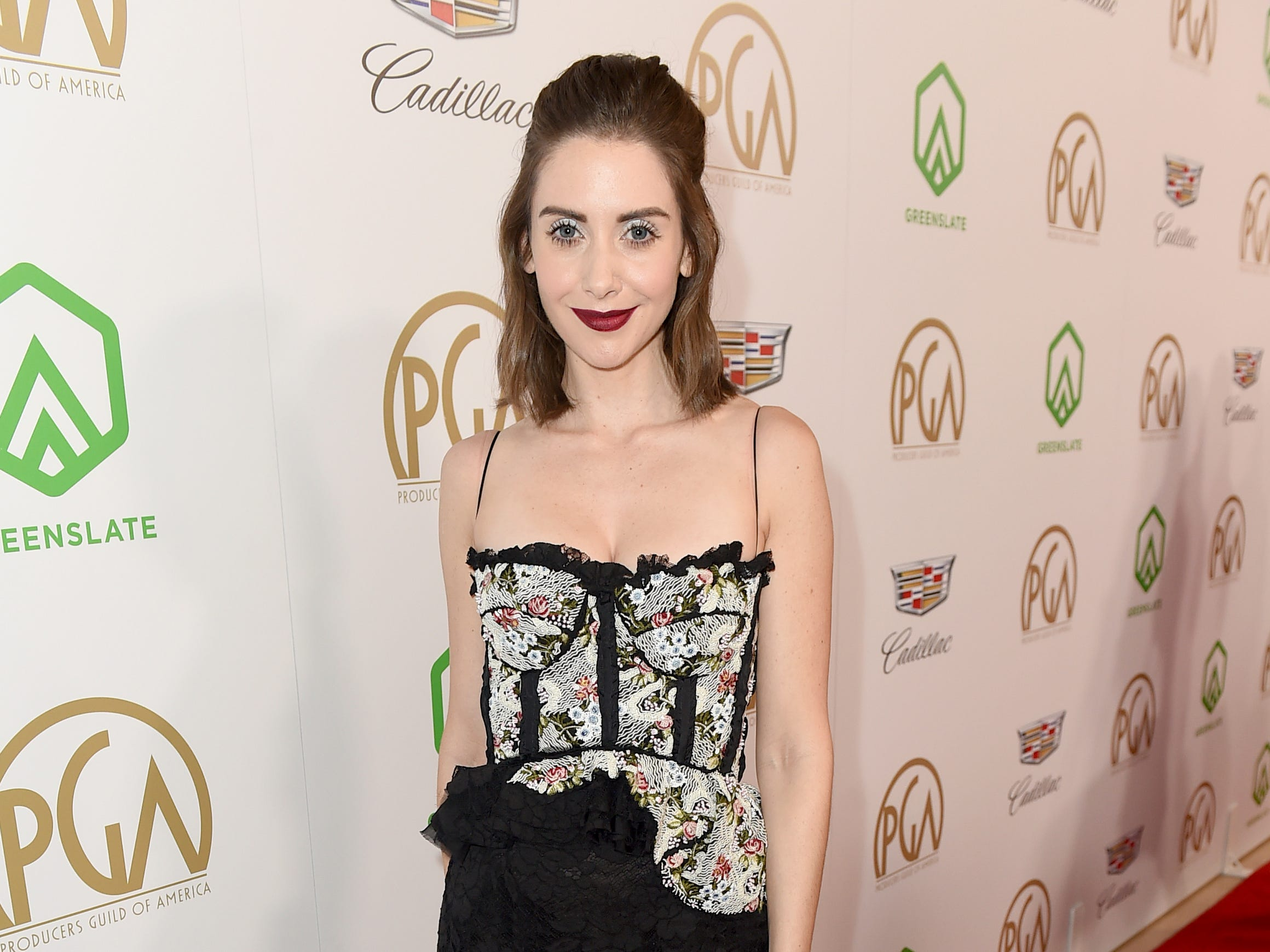 IMAGE DISTRIBUTED FOR PRODUCERS GUILD OF AMERICA - Alison Brie arrives at the 30th Producers Guild Awards presented by Cadillac at the Beverly Hilton on Saturday, Jan. 19, 2019, in Beverly Hills, Calif. (Photo by Jordan Strauss/Invision for Producers Guild of America/AP Images) ORG XMIT: CALB114
