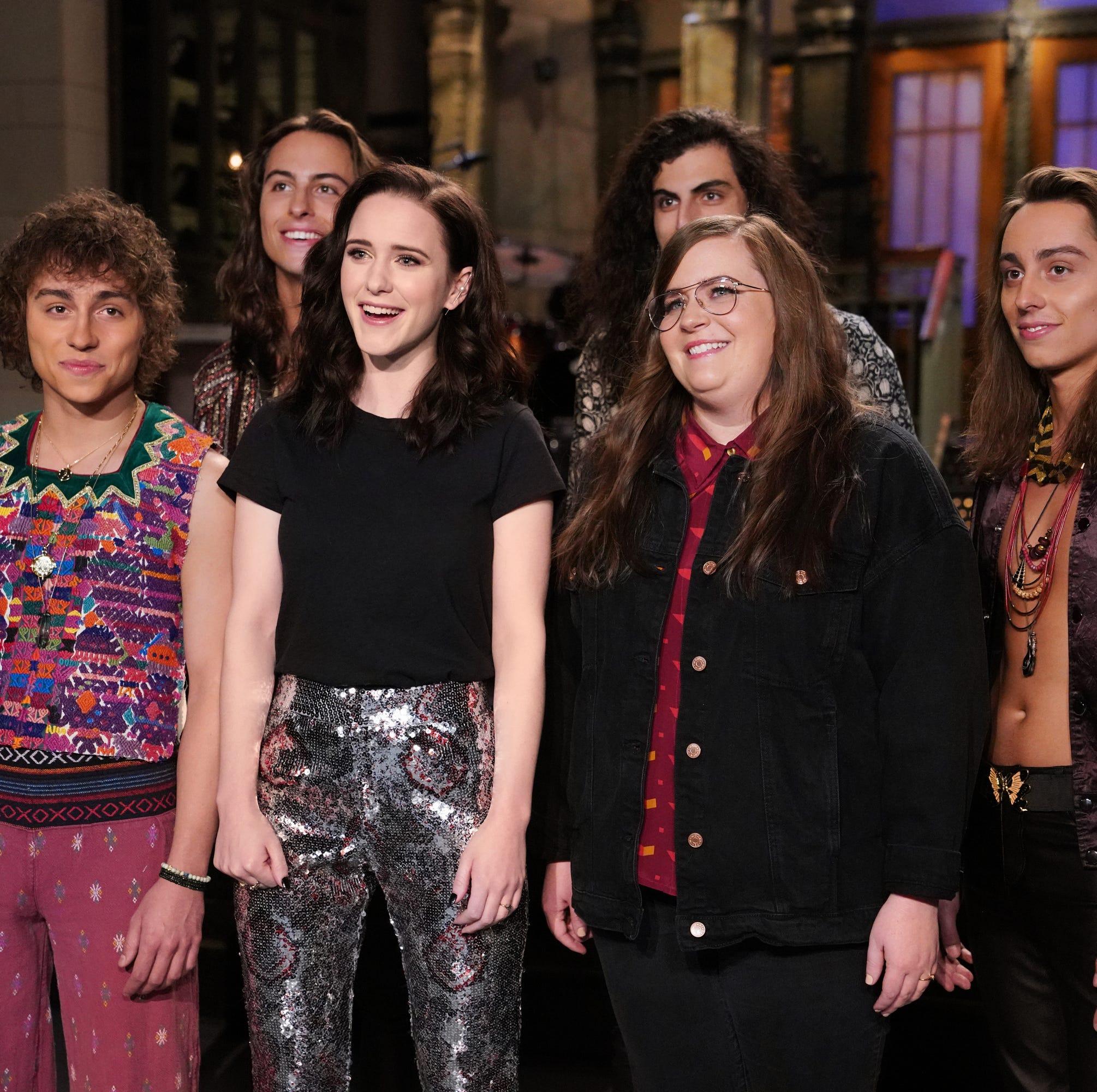 "Musical guest Greta Van Fleet, host Rachel Brosnahan, and Aidy Bryant during Promos for ""Saturday Night Live."""