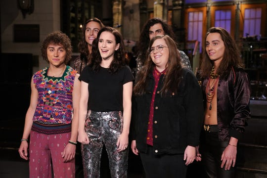 "Musical guest Greta Van Fleet, host Rachel Brosnahan, and Aidy Bryant during Promos for ""Saturday Night Live."""