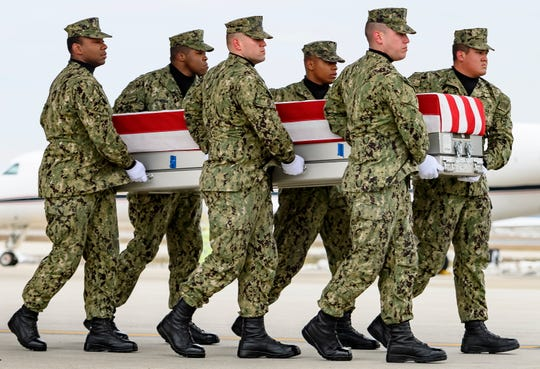 Americans killed in Syria return to Dover, Delaware, on Jan. 19, 2019.