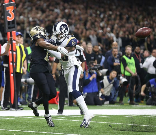 Rams defensive back Nickell Robey-Coleman breaks up a pass intended or Saints wide receiver Tommylee Lewis.