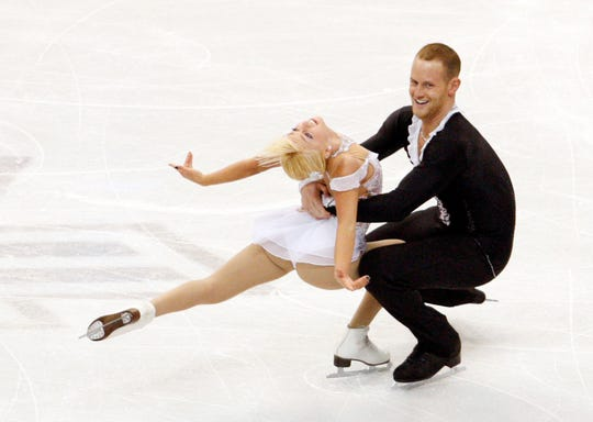 John Coughlin, shown with Caydee Denney, competed at the 2013 Skate America competition at Joe Louis Arena.