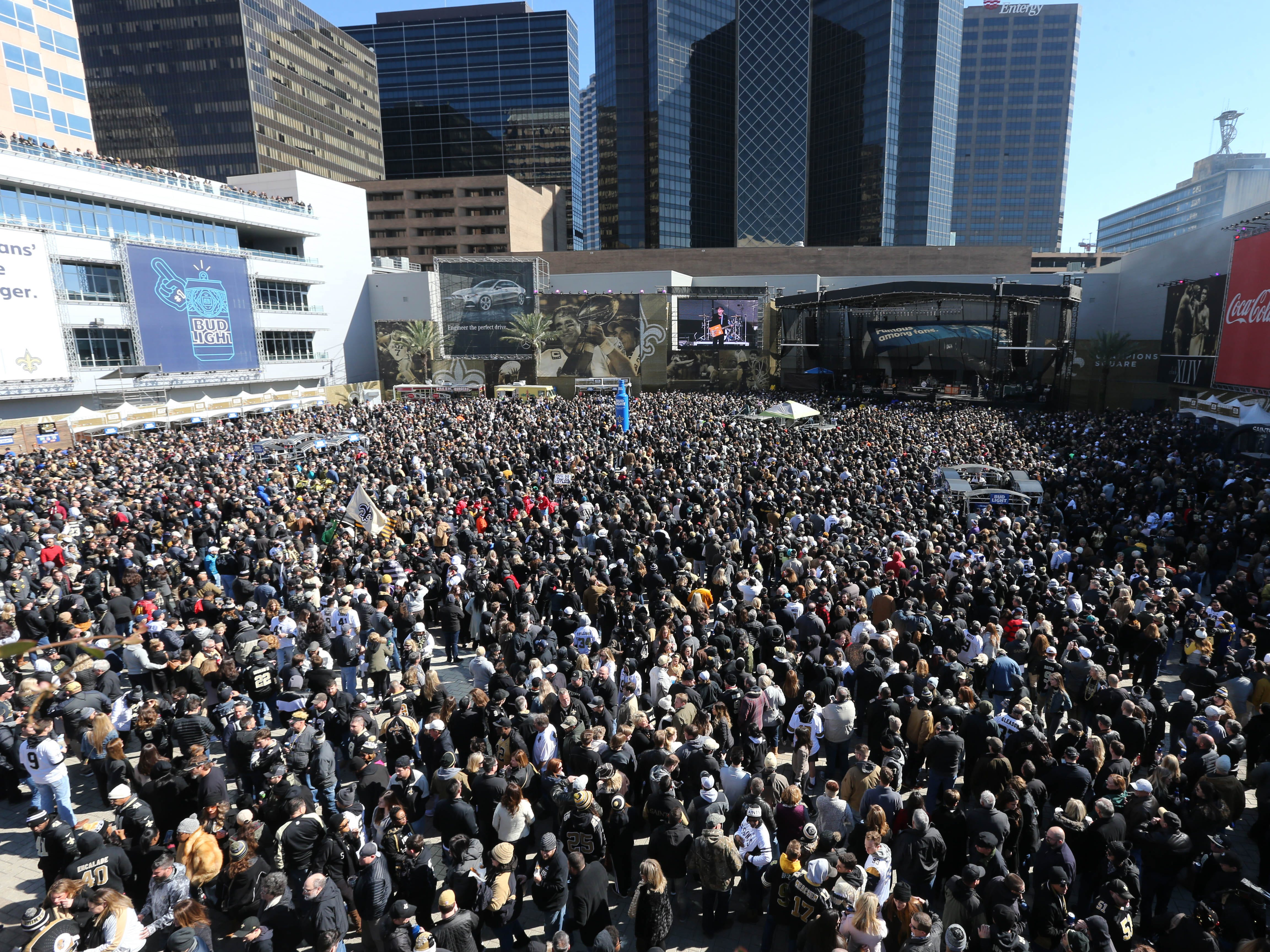 Jan 20, 2019; New Orleans, LA, USA; Fans fill Champions Square outside the Mercedes-Benz Superdome before the NFC Championship game between the Saints and the Los Angeles Rams. Mandatory Credit: Chuck Cook-USA TODAY Sports