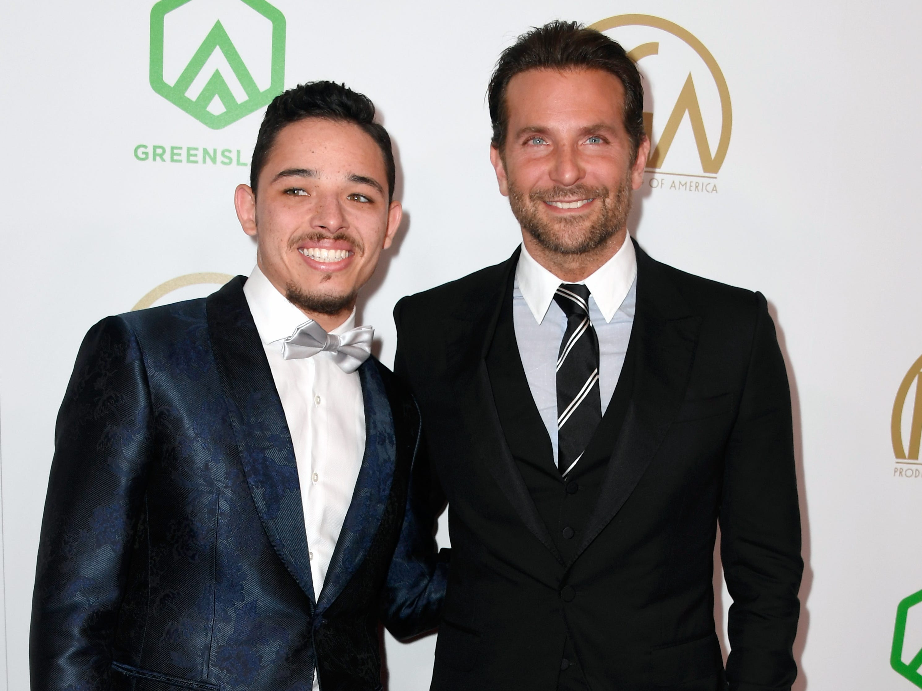 BEVERLY HILLS, CA - JANUARY 19:  Anthony Ramos (L) and Bradley Cooper attend the 30th annual Producers Guild Awards at The Beverly Hilton Hotel on January 19, 2019 in Beverly Hills, California.  (Photo by Frazer Harrison/Getty Images) ORG XMIT: 775277375 ORIG FILE ID: 1085411192